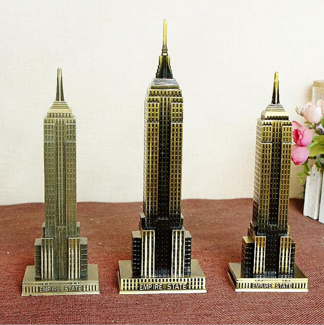 18-22cm World Famous Empire State Building Model Bronze Craft 3D - Home Decor