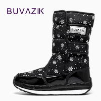 2017 Fashion Keep Warm Down Waterproof Women Boots Snowflake Printing Hook Loop Design Winter Snow Boot