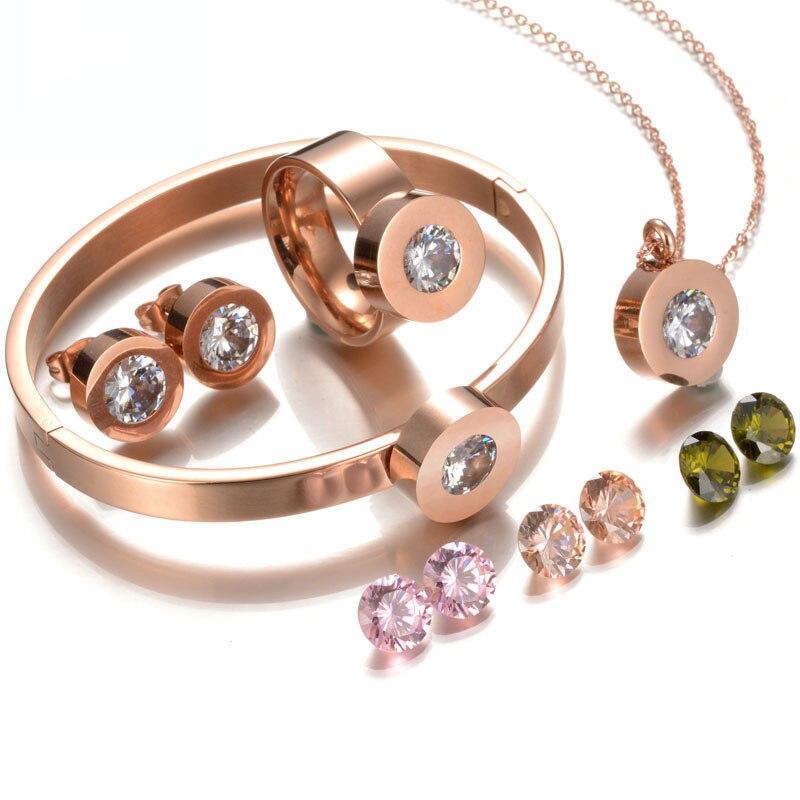 Marchio di Qualità superiore dell'acciaio Inossidabile 316l Gioielli Da Sposa Set 4 colori Rose Gold CZ Pietra di Nozze Gioielli Set Per Il Partito regali