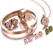 Sistemas Nupciales de La Joyería de Oro Rosa de Acero Inoxidable 316l de Calidad superior 4 Colores Piedra de la CZ de La Joyería de la Boda Para Los Regalos de Navidad