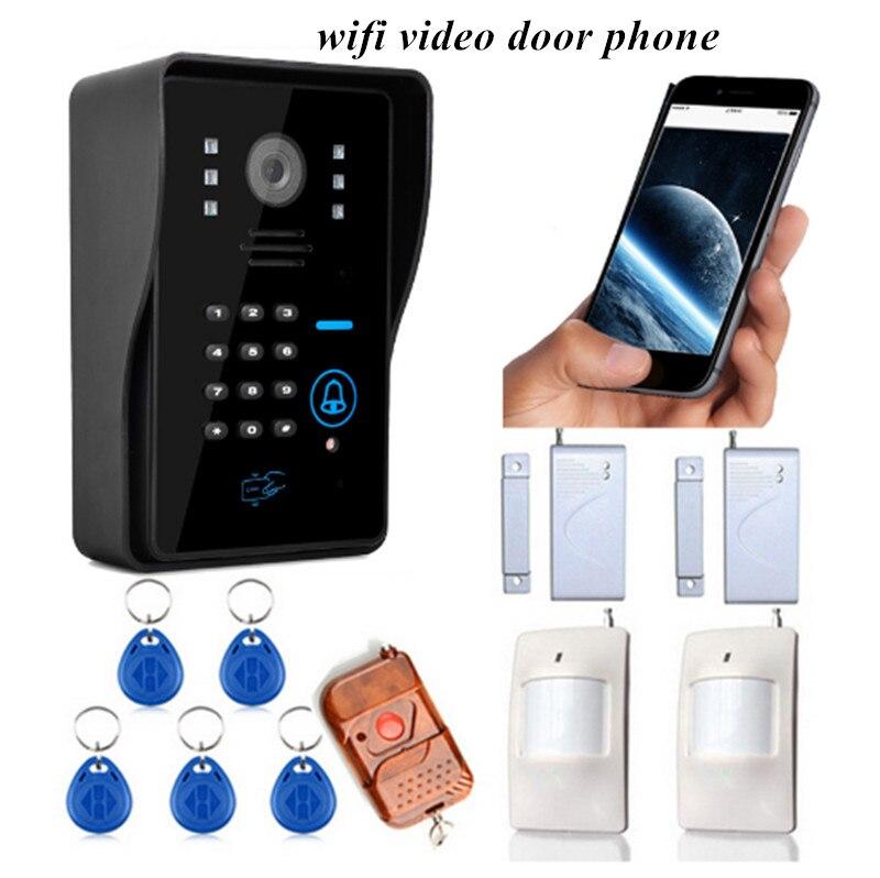 WIFI Video Door Phone With Door Sensor PIR Detector Access Control System