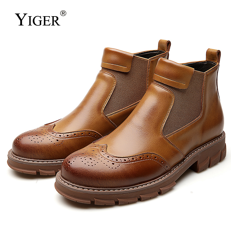 YIGER New Men boots Chelsea Winter Ankle Boots Genuine Leather Slip on Man Desert Boots Plush