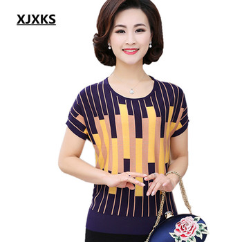 1dbd93727 Xjxks 2017 verano estilo nuevo moda mujer punto Camisas manga corta rayas  Tops camiseta femenina casual Camisetas 87005