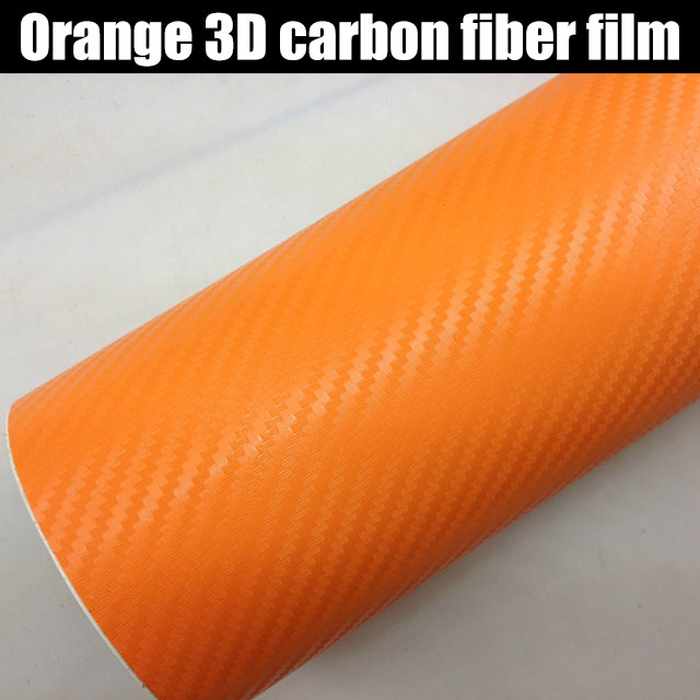 PREMIUM ORANGE 3D Carbon Fiber Vinyl Wrap Car Film Adhesive Decal Roll Sticker