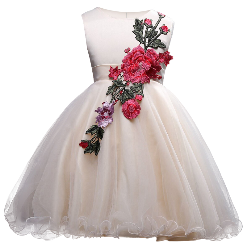 2017 New Spring Summer Fashion Girls Princess Party Ball Gown Dresses Embroidered Flower Dress for Girls Birthday Wedding Party princess girls dress 2017 new fashion spring