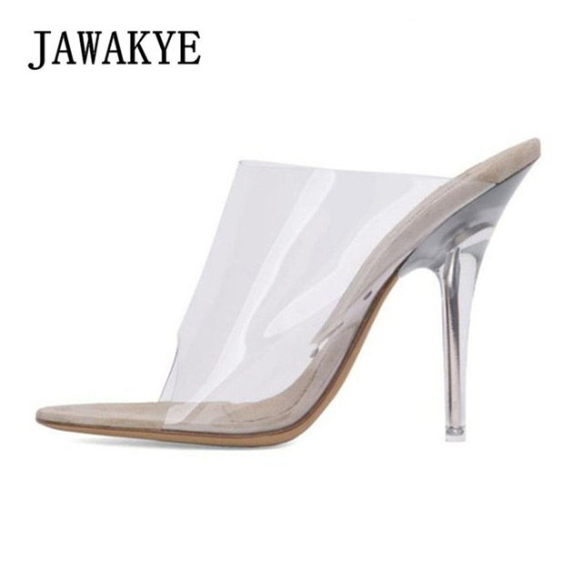 716e03434b4b 2018 Open toe Clear High heel Sandals Women PVC Transparent Shoes Summer Stiletto  Clear Mules Slides high heels Women Slippers