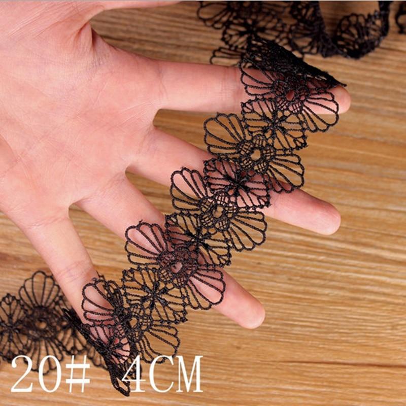 3 yards schwarzer Spitzenbesatz Band Applique Polyester für Kleidung Halskette Heimtextilien Bekleidung Nähen Spitze Stoff
