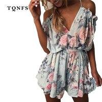 TQNFS 2017 Off Shoulder Floral Print Jumpsuit Romper Women Backless Summer Beach Overalls V Neck Elegant