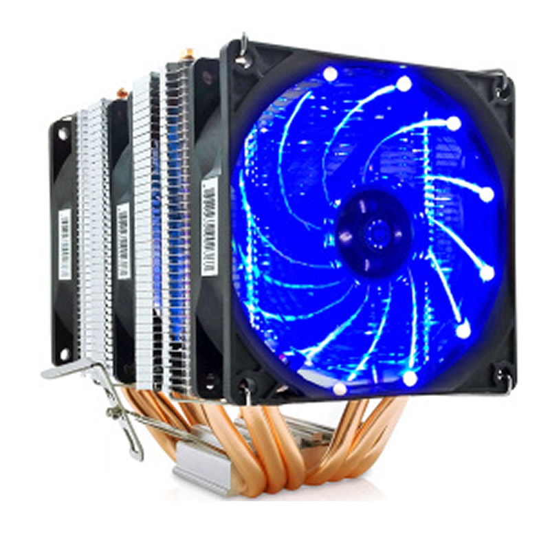 High quality 6 heatpipe dual tower cooling 9cm fan support 3 fans 4PIN CPU cooler 775