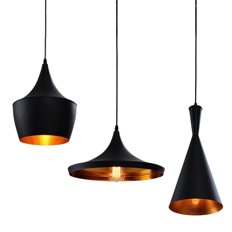 Vintage Aluminum Black Pendant Light Musical Instrument Hanging Ceiling Suspended Lamp For Kitchen Island Dining Room Restaurant