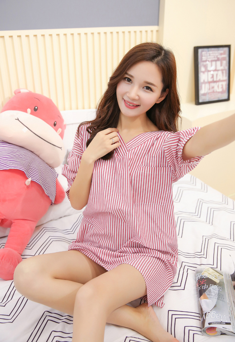 Korean style new cotton and linen nightdress female home clothes casual loose nightgowns women summer dress nightshirts A558