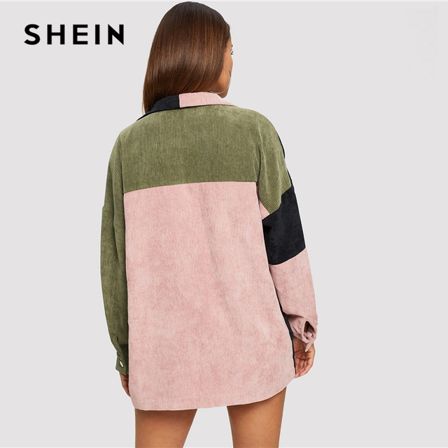 SHEIN Multicolor Casual Colorblock Cut And Sew Single Breasted Pocket Front Corduroy Jacket Autumn Leisure Women Coat Outerwear 2