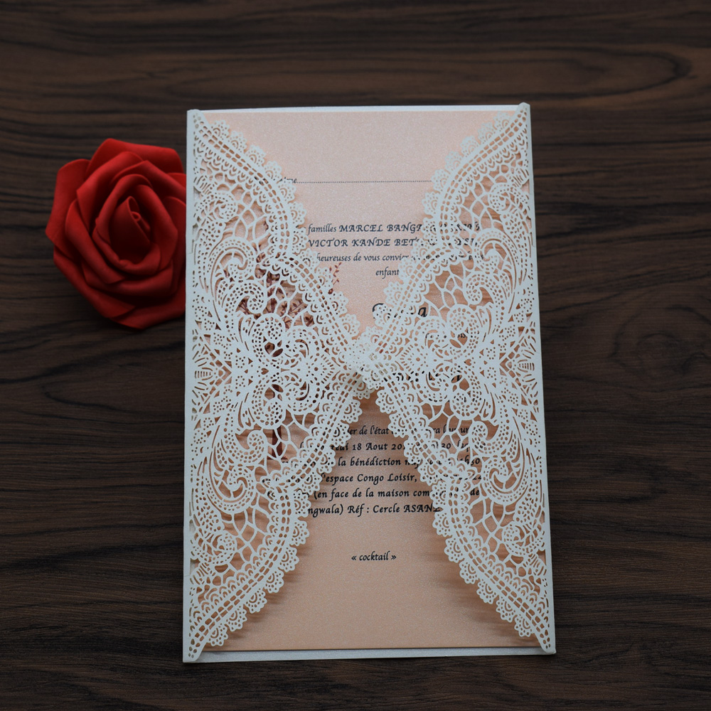 50pc wedding invitations card laser cut invitation card