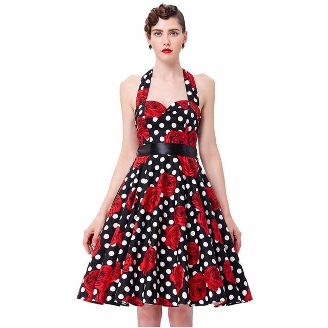 23667ceddd2a Women Dresses Audrey Hepburn Retro Rockabilly 1950s Vintage Dress Vestidos  Floral Print Sexy Robe Pinup Party Swing Summer Dress