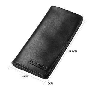 Image 3 - Bison denim bolsa masculina de couro genuíno carteira longa fino preto embreagem masculino carteiras id titular do cartão fino bolsa N4329 1