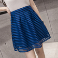 2017 New Style Spring Summer Mini Womens Skirts High Waist Pleated Skirt Female Fashion Cross Stripe Hollow Out Short Skirt