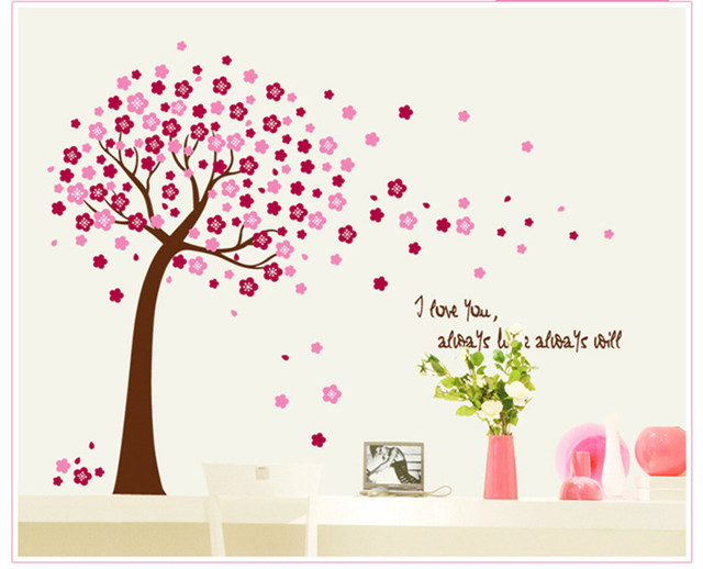 Flower Family Tree Home Decoration Wall Decal Quotes Bathroom Mirror Vinyl  Poster Wall Sticker New 2014