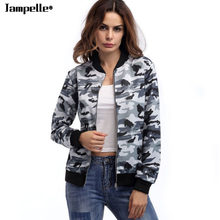 Camouflage Women Jacket Outwears Autumn New Cotton Loose Camouflage Tactical Coat Pocket Stylish Zipper Army Green Bomber Jacket(China)