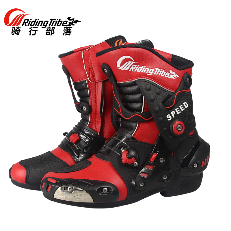 Riding Tribe HIGH SPEED Motorcycle calf boots Motorbike Racing Microfiber Leather Boot Motocross waterproof A010 shoes riding tribe motorcycle waterproof boots pu leather rain botas racing professional speed racing botte motorcross motorbike boots