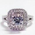 Art Deco de Banda Dividida 14 K 585 Anillo de Compromiso de Oro Blanco 1Ct Moissanites Laboratorio Crecido anillo de Diamante de La Boda del Corte Redondo Europeo de la Vendimia anillo