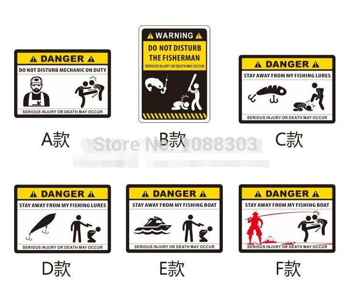 Funny Warning DANGER Fishing Sticker Personality Outdoor Fishing Car Sticker Fashion Fishing Hobby Motorcycle Decals Fish signs