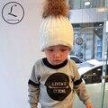 2016 Nova Simples Listrado Inverno Verdadeira Pele De Guaxinim Chapéus De Pele Real Pompom Gorros Cap Chapéu De Pele Natural Para As Crianças/crianças/Meninos/Meninas