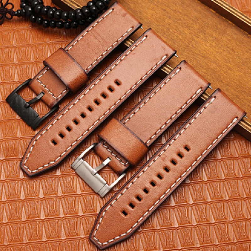 Italy Oil Leather Watchband For Diesel For Fossil For Timex DW Quick Release Genuine Leather Watch Band Wrist Strap 24mm +Tool