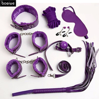 Adult Games 8pcs Leather Set Collar Mouth Gag Ball Handcuff BDSM Nipple Clamps Clips Couple Sex Accessories Flirting Love Sex