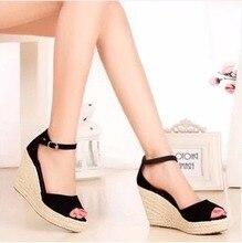 Koovan Women Sandals 2017 New Summer Fashion Straw Wedge Sandal Platform Shoes Fish Head Shoes Woman
