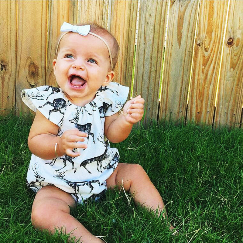 Animal Print Kids Clothes Newborn Infant Baby Girls Rompers Sleeveless Fawn Girls Onepiece Cotton Baby Rompers