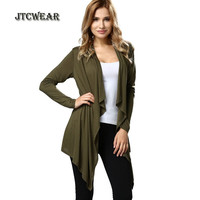 JTCWEAR Woman Batwing Cardigan Blouse Long Sleeve Front Open Shirts Fashion Casual Lady High Low Loose