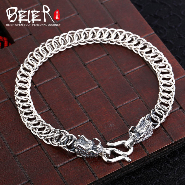 Vintage hand chain Beier 925 sterling silver bracelet punk dragon link chain animal bracelet men accessories Jewelry SCTYL0148