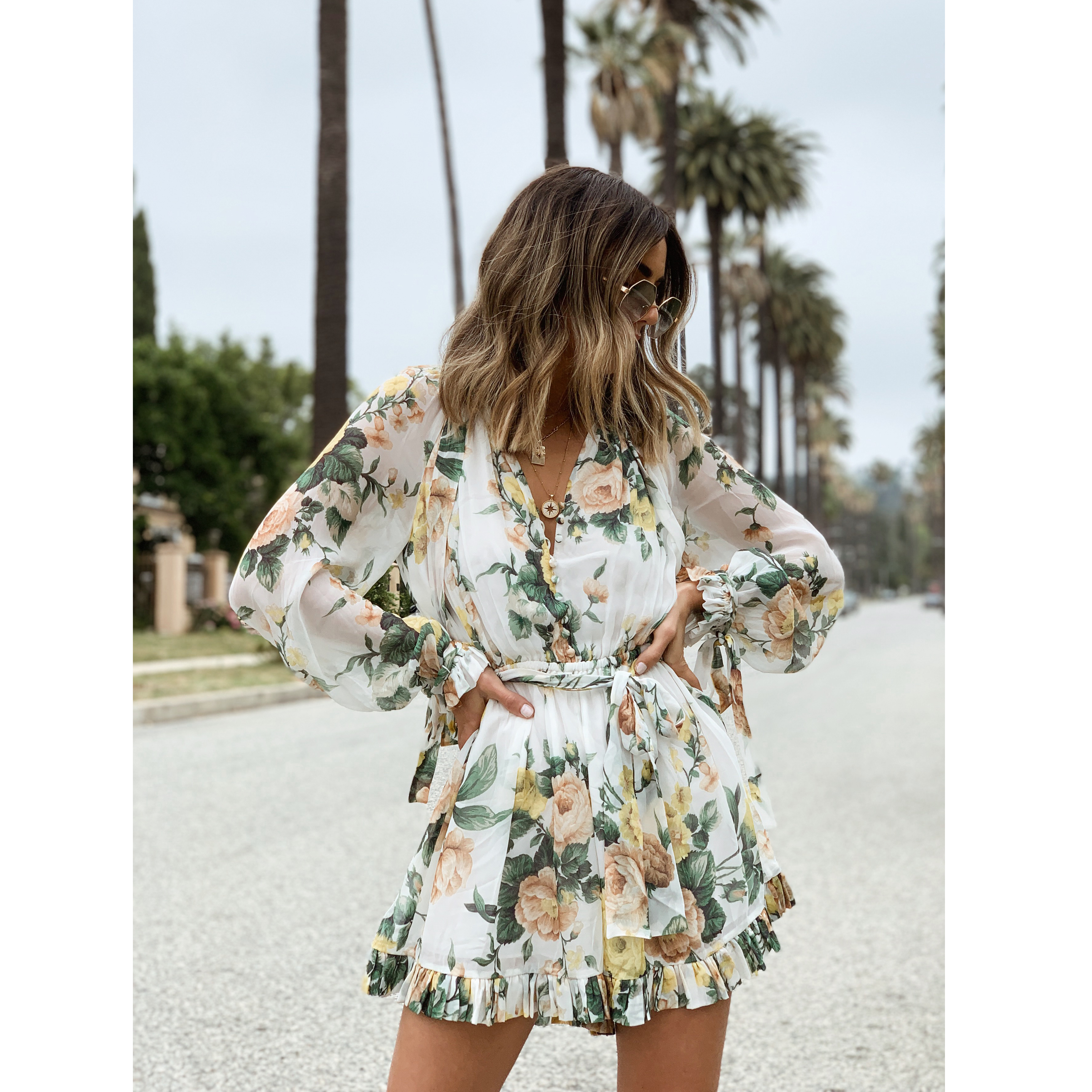 Ivory Garden Floral 2019 zippy necktie playsuit Holiday wind long sleeve jumpsuit Rompers Culottes