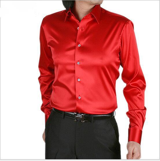 Primavera otoño Nuevo estilo de los hombres de manga larga camisa de seda de corea de los hombres cultivan su moralidad camisa Camisas de Esmoquin rojo más el tamaño S-5XL
