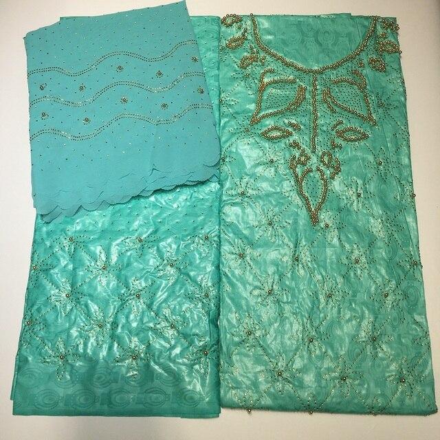 Top 3 trong 1 bazin Riche getzner với ren & Hạt Châu Phi vải Nigeria dệt hoa thổ cẩm đính hạt vải mặc chất liệu