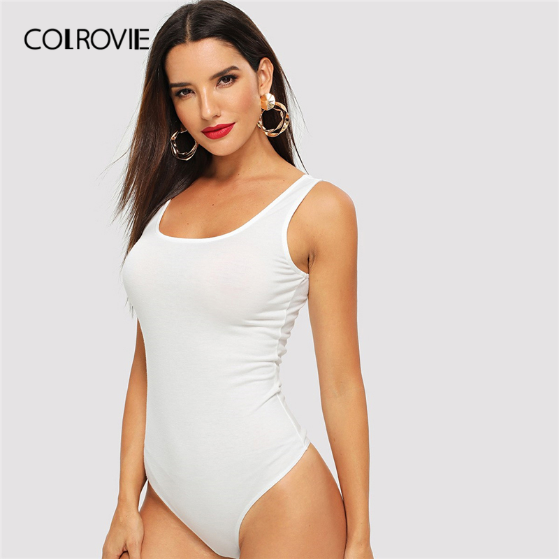 COLROVIE Black Scoop Neck Slim Fit Sexy White Skinny Tank Bodysuit Women 2019 Summer Sleeveless Grey Basic Ladies Bodysuits