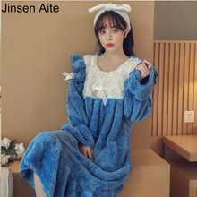 Jinsen Aite новая осенне-зимняя Дамская Ночная Рубашка Фланелевая Домашняя одежда женская плотная теплая кружевная длинная Пижама принцессы JS698