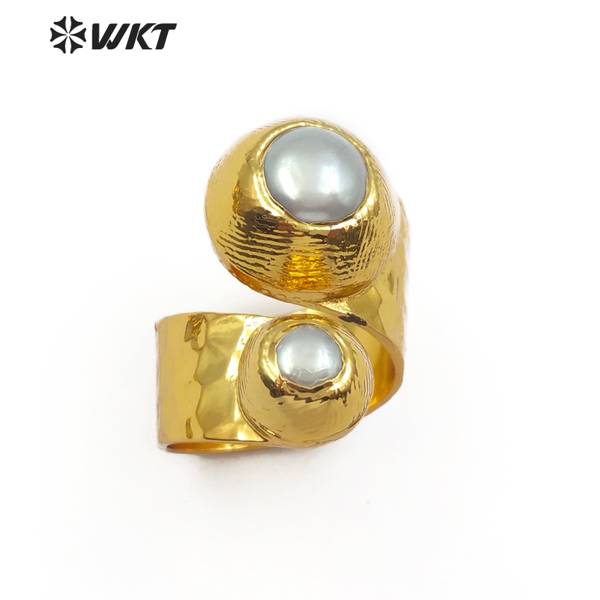 WT R329 Fashion Design Double Gem stone Ring Natural Freshwater Pearl Ja de In Round Shape