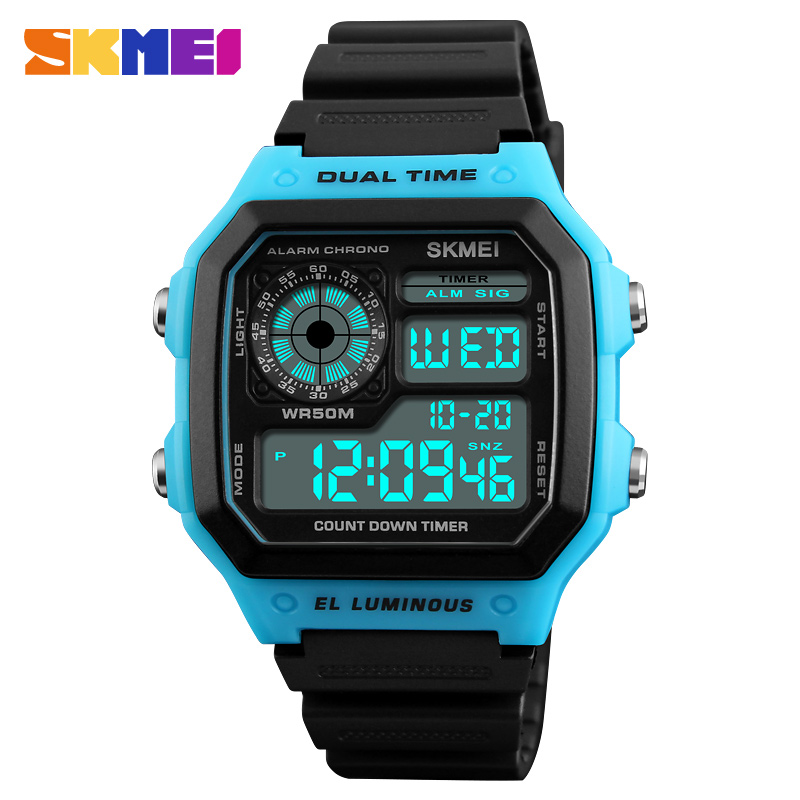SKMEI LED Digital Wristwatches Watch Men Waterproof Alarm Chronograph Mens Watches Top Brand Luxury Sport Watches For Men Black new sports watches men skmei brand dual time zone led quartz watch men waterproof alarm chronograph digital wristwatches