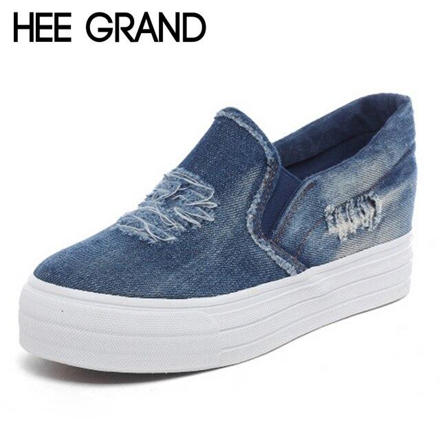 HEE GRAN Denim Lienzo Zapatos de Mujer 2016 Plataforma Loafers Slip On Creepers Casual Zapatos Mujer Flats Zapatos de Las Mujeres de La Vendimia XWF483