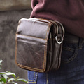 Hot Sale Top Quality Genuine Real Leather Cowhide men vintage Messenger Bag Pouch Waist Pack Bag 814-9
