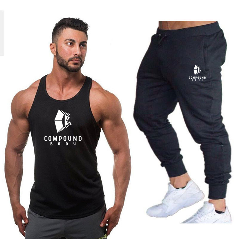 classic Brand high quality Men Summer gyms Fitness   Tank     Top   +trousers fashion clothing Loose breathable sleeveless shirts Vest