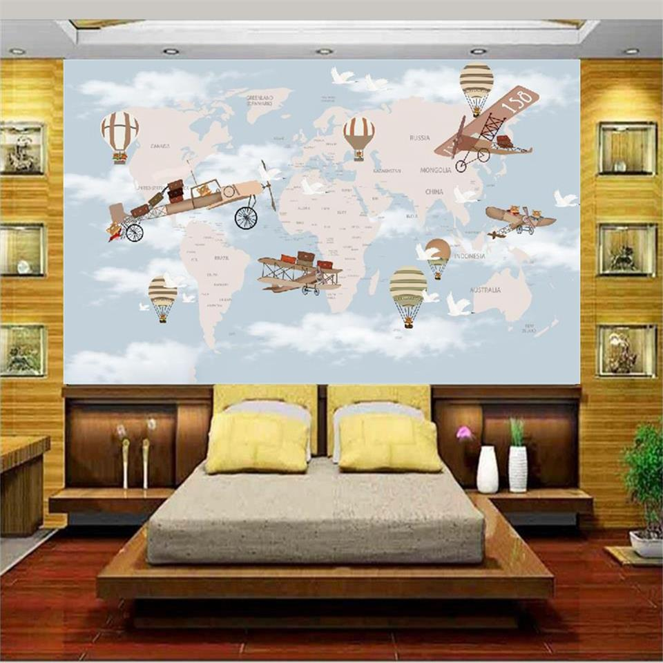 3d wallpaper photo wallpaper custom living room mural kids retro map plane 3d painting sofa TV background wall non-woven sticker custom photo 3d wallpaper non woven mural 3d wall murals wallpaper for living room european watercolor roses decoration painting