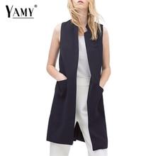 White Black Office Elegant Sleeveless Blazer Autumn Vest Women Stand Collar Long Waistcoat Casual Jacket Colete Feminino