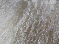 Natural White Mongolian Curly Lamb Skin Long Hair Lamb Fur Carpet