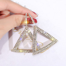 Ufavoirte Triangle crystal Earrings korean earrings Geometric earring For Women Hanging Dangle
