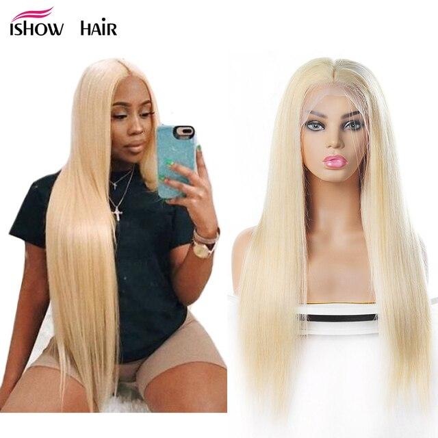 Ishow 613 peluca frontal de encaje 13X4 pelucas de cabello humano de encaje brasileño pelucas de cabello humano Remy predesplumado Rubio recto pelucas de cabello para mujer