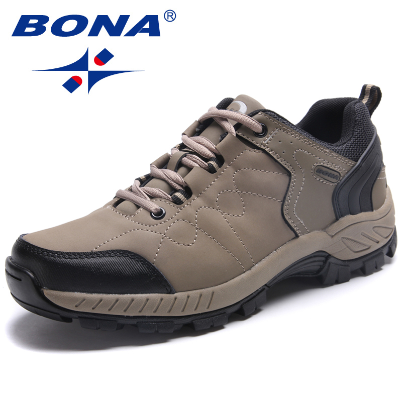 BONA New Popular Style Men Hiking Shoes Lace Up Men Athletic Shoes Outdoor Jogging Trekking Sneakers Comfortable Free Shipping bona new designer popular style men tenis shoes leather outdoor jogging shoes athletic shoes lace up trendy sneakers shoes