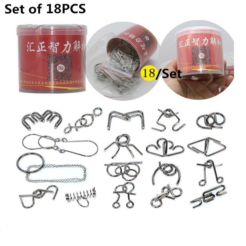16/18/28/30 PCS თითო Set IQ Metal Puzzle Mind Brain Teaser - ფაზლები - ფოტო 6