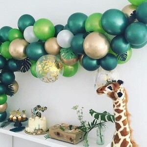 Image 4 - 子供ウッドランド動物誕生日恐竜パーティーの装飾 30 個ダークグリーンラテックス風船ヘリウムボール大人の結婚式用品